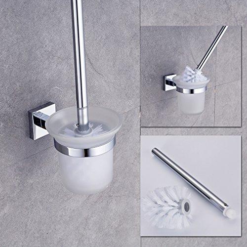 Auralum® WC Garnitur Toilettenbürste Bürste aus hochwertigem Kupfer Ersatzbürste Toilettenbürstenhalter zur Wandmontage