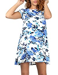 Oops Outlet Womens Ladies Printed Summer Sunny Short Cap Sleeve Flared Franki Tunic Swing Dress Plus Size