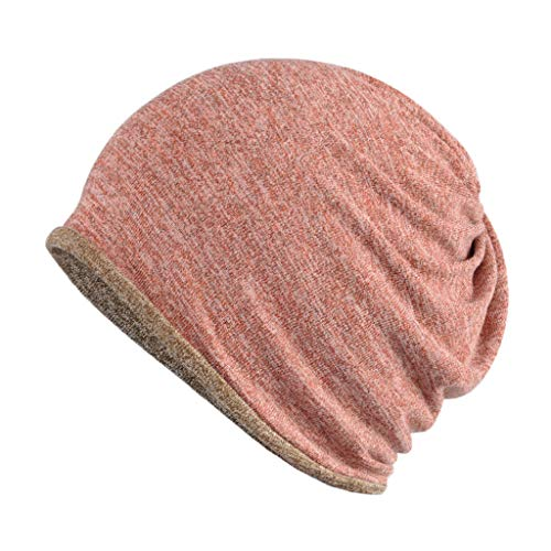 GROOMY Womens Man Unisex Multi-Use Two-way Beanie Skullies Hat Slouchy Contrast Color Double Layer Cotton Warm Ring Ring Scarf Winter Autumn Beanie Cap - Pink + Coffee