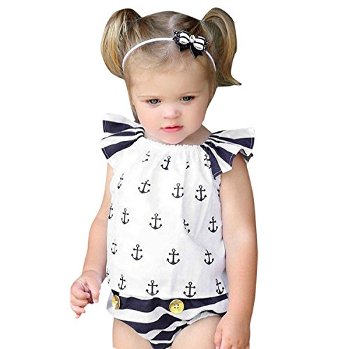 YASSON 2 Pcs Baby Mädchen Bekleidungsset Sommer Streifen Rüschen Ärmel Neugeborenes Ärmellos Anker Aufdruck Top Und Unterteil Babybekleidung