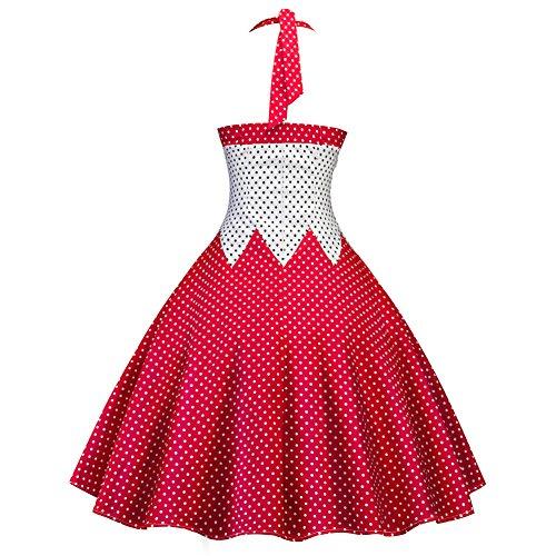 iBaste Abiti Vintage Anni 50 Donna Vestito Polka Dots Hepburn Cocktail Party Dress Colour Piecing Capestro Stile A