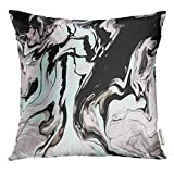 Cupsbags Throw Pillow Cover Blue Mixed Black and White Marble Pastel Color Mix Light Green and Pink Liquid Paint Decorative Pillow Case Home Decor Square 18x18 Inches Pillowcase