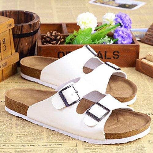 Pantofole Unisex Adulto - Sandali PU-Cuoio Donna - Pantofole Uomo Bianco
