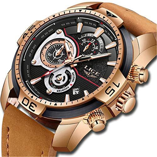 LIGE Herren Uhren Militärische Sport Chronograph Braun Analoge Quarzuhr Herren wasserdichte Leder Armbanduhr (1 Goldschwarz)