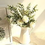 Gaddrt Fiore finto Gamma Rose Ortensia Fiori Bouquet Mazzo Home Festa Di Nozze Regalo Deco-Silk Flower + Plastic + Filo Di Ferro (White)
