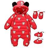 Bom Bom Baby Jungen Mädchen Schneeanzug Overall Winter Baby Kleidung mit Schuhe und Handschuhe (rot,3-6m)