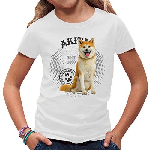 Fun Kinder T-Shirt - Rassehund Motiv: Akita Foto by Im-Shirt - Weiß Kinder 9-11 Jahre (Foto Akita-hund)