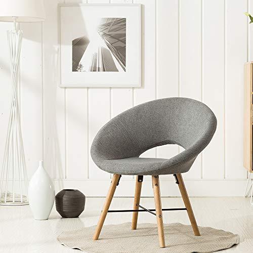 Green House Furniture 1er-Set Esszimmerstuhl im legeren Stil, Schlafzimmer Stuhl,Wohnzimmerstuhl, Gepolstert mit Grauem Stoff, Holzbeinen in Naturfarbe
