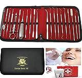 BeautyTrack Dental-Kit & Scaler, 20 Stück Edelstahl- Spiegel & Zahn Schaber Set mit Baumwolle Twizers- Syringe & Elevator + Leder -Speicher-Fall - Ideal für Zahnärzte & persönlichen - Dental- Pflege
