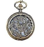 Taschenuhren Jahrgang Antike Uhren SOMESUN Bronze Ton Spinnennetz Design Kette Anhänger Herren Taschenuhren (#1)
