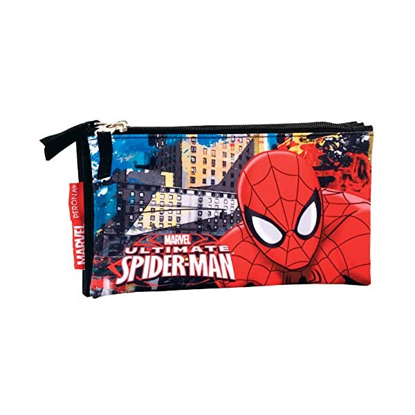 Spiderman- Estuche portatodo Triple Plano,, 22 cm (Montichelvo 54298)