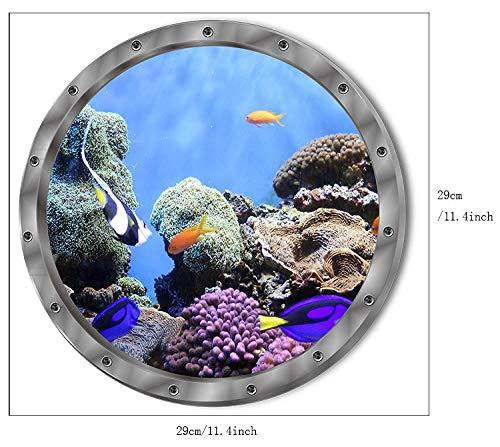 Qwer adesivi murali subacquei etichetta impermeabile tartaruga delfino per la decorazione della stanza da bagno