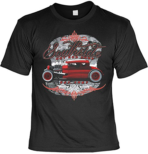 Goodman Design ® Vintage T-Shirt Southside Hot Rod Rockabilly T-Shirt Pin Up Rat Pinup Herren T-Shirt American Laiberl Leiberl Hot Rod Oldschool (Rat Rod Garage)