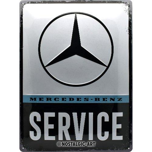 Nostalgic Art–Vintage de servicio de Mercedes-Benz decorativa, decoración de pared retro Cartel de chapa, metal, multicolor, 30x 40x 0.2cm