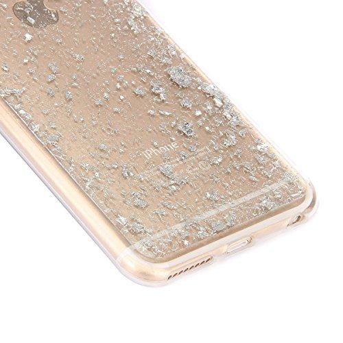 """Etsue Glitzer Silikon Hülle für iPhone 6S/iPhone 6 4.7"""" Crystal Clear Case,Shiny Glanz Sparkle Glitzer Kristall Durchsichtig Weich Silikon Zurück Tasche Transparent TPU Schutz Handy Hülle Soft Rücksei Glitter,Silver"""