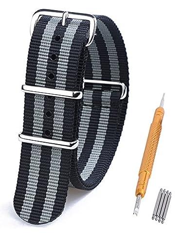 Randon Bandes Montre Nato Bracelet de montre en nylon balistique Avec Boucle En Acier Inoxydable, Black/Gray (Bond), 20 mm
