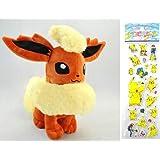 "Pokemon Plush Toy - Flareon Doll (Size L Large) Around 32cm 12"" + Pokemon Sticker"