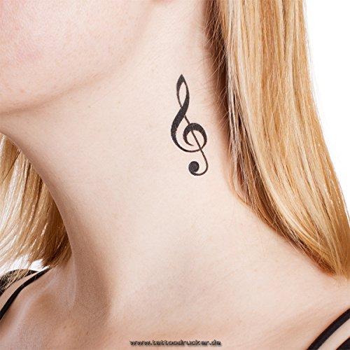 (2 x Violin Schlüssel Tattoo - schwarzer Notenschlüssel als Tattoo (2))