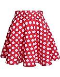 Dresstells Damen Basic Solide Vielseitige Dehnbar Informell Mini Glocken Rock Red White Dot L