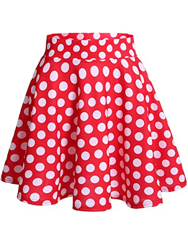 Dresstells Damen Basic Solide Vielseitige Dehnbar Informell Mini Glocken Rock Red White Dot XL (Minnie Maus Kostüm)