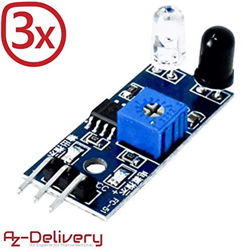 AZDelivery ⭐⭐⭐⭐⭐ 3 x IR Infrarot Modul für Hinderniserkennung Abstand Sensor für Arduino und Raspberry Pi Ir Infrarot-sensor