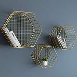 LRZLZY Schmiedeeisen-Hexagon Fernsehhintergrund-Wandgestellwanddekorationsgestell dreiteilig (Farbe : Gold)