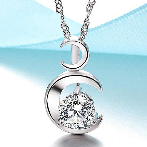 Aoligei Herzstück der Mond Halskette Anhänger Dame Schlüsselbein Anhänger Sterlingsilber Zubehör