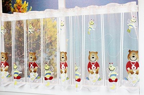 Kamaca Bistrogardine Kindergardine BÄR UND Biene individuell in der Breite kürzbar Halbtransparent Breite 135 cm/Höhe 50 cm Scheibengardine (Sternen - BÄR UND Biene)
