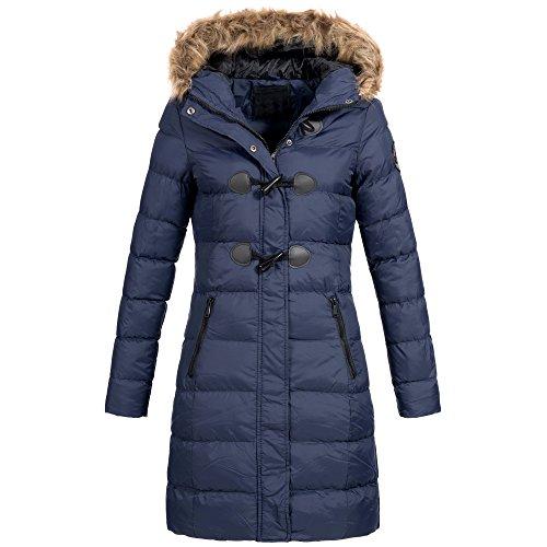 AZ-Fashion Damen Steppmantel Winter Mantel Parka Jacke warm S-XXL AZ29 4-Farben, Größe:XL / 42;Farbe:Navy