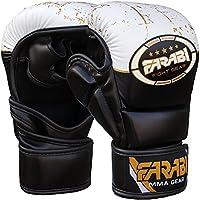 7-Oz híbrida de semi Pro guantes de boxeo jaula lucha MMA Grappling boxeo boxeo punching bag Pad Formación compitition sparring (negro/blanco, S/M)