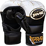 Farabi 198,4 Gram Ibrido Semi PRO Guanti da Boxe Cage Fighting MMA punzonatura Boxe Sparring Sacco da Boxe Training Compitition Sparring (Nero/Bianco, L/XL)
