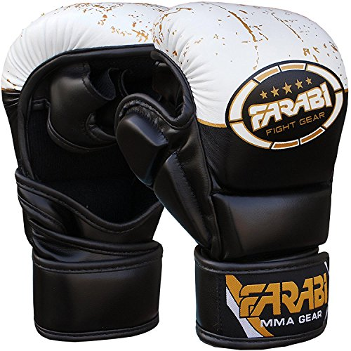 7-oz Semi Pro Handschuhe Hybrid Boxen Cage Fighting MMA Grappling Stanz Boxen Sparring Boxsack Pad Training compitition Sparring mehrfarbig schwarz / weiß L / XL (Combat Sports Handschuhe)
