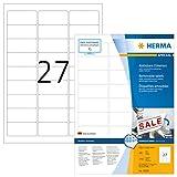 HERMA 10300 Universal Etiketten DIN A4 ablösbar (63,5 x 29,6 mm, 100 Blatt, Papier, matt) selbstklebend, bedruckbar, abziehbare und wieder haftende Adressaufkleber, 2.700 Klebeetiketten, weiß
