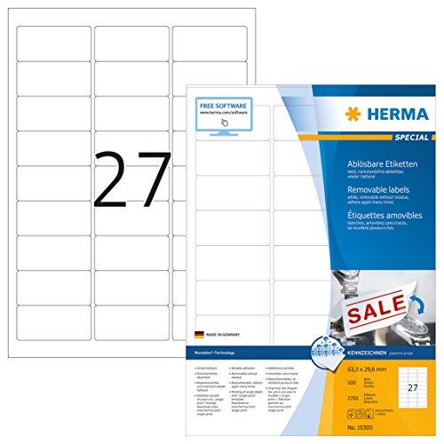 Herma 10300 Etiketten ablösbar, wieder haftend (63,5 x 29,6 mm auf DIN A4 Papier matt) 2.700 Stück...