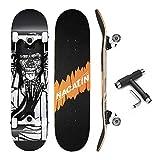 NACATIN Planche à roulettes Skateboard Pour Les Enfants, Jeunes et Adultes avec des roulements à billes ABEC-9, 92A Anti-dérapant Lisse,muet funboard de roue pour les débutants (noir)