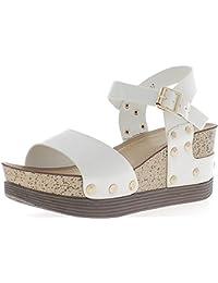 Sandales compensées blanches vernies talon de 7,5 cm avec bride cheville