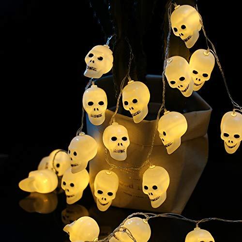 Ziffer Batterie (jxxcsmaa Halloween-Kürbis Laterne Dekorative Requisiten Angeordnet Schmuck Kinder Schmuck Lustiges Geschenk Kleid Lampe 10 Schädel Batterie Ziffer 1.5 M)