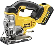 DeWalt 18V Premium Jigsaw, 2 x 4.0Ah batteries, charger & kitbox, Yellow/Black, DCS331M2-GB, 3 Year War