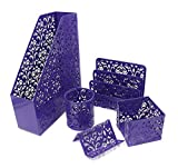 Geniric Set de bureau 5pièces, Porte-dossiers, Trieur à courrier, Pot à crayons, Support pour cartes de visite, Support pour notes autocollantes violet