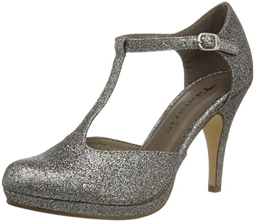 Tamaris Damen 24428 Pumps, Silber (Platinum Glam 970), 38 EU