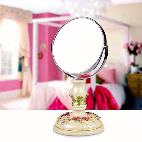 JILAN HOME Mirror- Beauty Vanity Spiegel Make-Up Desktop Dressing Spiegel Harz 6 Zoll High-Definition Doppelseitig Einstellbare Runde Tragbare Spiegel Fuß Stand mirror ( Farbe : Hellgrün )