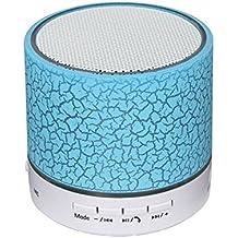 Hipipooo, Altoparlante, wireless, bluetooth, con mini LED, con ingresso USB, carta TF, musica FM, subwoofer con la luce colorata (blu)