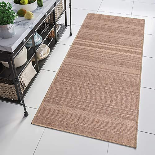 Tapiso Floorlux Teppich Läufer Meterware Flur Küche Wohnzimmer Indoor Sisal Optik Modern Geometrisch Streifen Braun Brücke nach Maß 70 x 400 cm