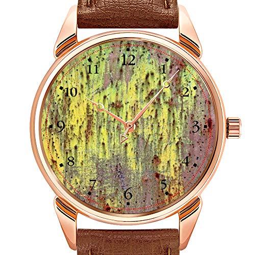Herrenuhren Mode Quarzuhr Business wasserdicht leuchtende Uhr Herren braun Leder Uhr Grunge gelb & Magenta verrostet Metall 4 Zifferblatt 1 Uhren - 1 X Magenta-paket