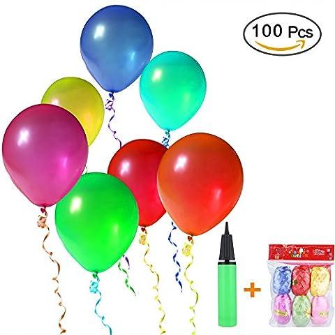 Luftballons mit pump, Vegbirt 100 Ballons, 1 Ballonpump und 6 farbiges band,Farbige Ballons, Bunte Ballons für Party Zur Dekoration Geburtstagsfeier