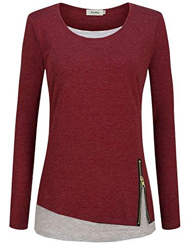 KorMei Damen Langarmshirt Rundkragen Layered Zip Faux Twinset T-Shirt Weinrot&Hellgrau S