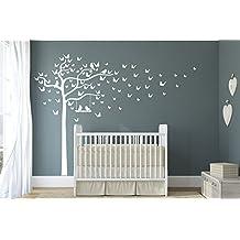 - Adhesivo mural decorativo de vinilo, diseño de árbol, columpio y pájaros, acabado mate