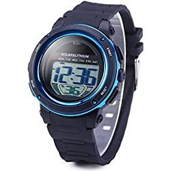 Leopard Shop Skmei LED Sports Watch with Backlight Alarm Water Resistant Solar Power Blue