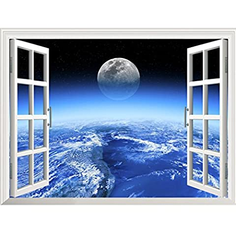Kingko® 3D Star Galaxy Space Home Decor Art Fake Window New Wall Removable Stickers (B)
