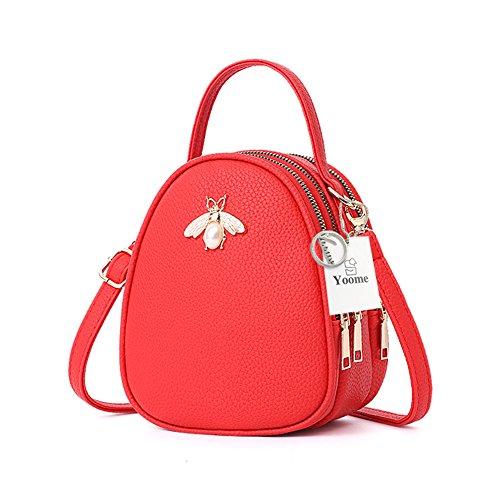 Faux-leder-satchel (Yoome Faux Leder Kleine Crossbody Umhängetasche Multi-Pockets Bee Series Handy Geldbörse Mini Satchel Handtasche Geldbörse für Frauen)